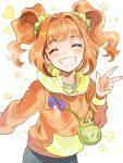 1girl :d blush brown_hair closed_eyes collarbone facing_viewer grey_pants grin hair_ornament hood hood_down hooded_sweater idolmaster idolmaster_(classic) inzup long_hair open_mouth orange_sweater pants shiny shiny_hair smile solo standing sweater takatsuki_yayoi twintails w white_background