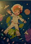 1boy arm_up bed_sheet brown_hair child commentary_request from_above full_body green_eyes indoors long_sleeves lying male_focus no_shoes noeyebrow_(mauve) on_back on_bed open_mouth original outstretched_arm pajamas pants pillow shirt signature smile socks solo space_print star starry_sky_print stuffed_toy tareme toy white_pants white_shirt