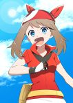 1girl :d absurdres blue_eyes blue_sky brown_hair clouds collared_jacket day gloves haruka_(pokemon) highres jacket lens_flare long_hair looking_at_viewer open_mouth outdoors pokemon pokemon_(game) pokemon_rse red_bandana red_jacket short_sleeves sky smile solo upper_body v-shaped_eyebrows wing_collar yuihiko