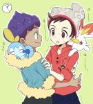 2boys ? beanie black_pants blue_jacket blue_pants cable_knit carrying closed_mouth dark_skin dark_skinned_male fur_trim gen_8_pokemon green_background hands_on_another's_shoulders hat hop_(pokemon) jacket looking_at_another male_focus male_protagonist_(pokemon_swsh) mikanbako_(aitatadon3) multiple_boys open_mouth outline pants piggyback pokemon pokemon_(creature) pokemon_(game) pokemon_swsh purple_hair red_eyes red_shirt scorbunny shirt simple_background sleeping sobble spoken_question_mark trembling white_outline yellow_eyes