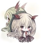 2girls :o bangs bat_wings black_legwear blonde_hair blush brown_eyes brown_skirt chibi commentary_request cottontailtokki eyebrows_visible_through_hair flower green_hair hair_between_eyes head_wings knees_up long_hair long_sleeves looking_at_viewer multiple_girls no_shoes pantyhose parted_lips pleated_skirt puffy_long_sleeves puffy_sleeves red_flower red_rose red_wings rose shadowverse shirt skirt sleeves_past_wrists vampy very_long_hair white_background white_shirt wings