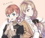 2girls annette_fantine_dominique blonde_hair blue_eyes brown_eyes closed_mouth fire_emblem fire_emblem:_fuukasetsugetsu fire_emblem:_three_houses hair_ornament intelligent_systems long_hair looking_at_viewer low_ponytail mercedes_von_marltritz multiple_girls nintendo open_mouth orange_hair shinkanoshin simple_background smile twintails upper_body