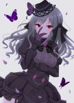 breasts bug butterfly buttons chain dark_persona diamond_(gemstone) eyebrows_visible_through_hair frozenpile gloves hair_ribbon half_updo hand_on_own_face hat highres idolmaster idolmaster_cinderella_girls insect kanzaki_ranko lolita_fashion long_hair looking_at_viewer medium_breasts mini_hat petals red_eyes ribbon ribbon-trimmed_clothes ribbon_trim silver_hair simple_background