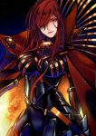 1girl bodysuit breasts cape commentary_request dark_background fate/grand_order fate_(series) fire hair_over_one_eye high_collar large_breasts long_hair looking_at_viewer marchab_66 oda_nobunaga_(fate) oda_nobunaga_(maou_avenger)_(fate) redhead solo upper_body