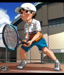 1boy baseball_cap brown_hair fence hat highres kaminosaki1 open_mouth original outdoors racket red_eyes shoes shorts sneakers sportswear sweatdrop tennis tennis_court tennis_racket tennis_uniform
