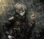 1girl absurdres aqua_eyes blonde_hair cigarette commentary english_commentary glasses gloves gun handgun highres holding holster holstered_weapon lighter looking_at_viewer mouth_hold original partly_fingerless_gloves pistol scarf short_hair single_glove solo weapon zap-nik zippo_(object)