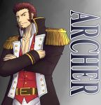 abeberries beard belt blue_eyes brown_hair chest crossed_arms epaulettes facial_hair fate/grand_order fate_(series) long_sleeves looking_at_viewer male_focus military muscle napoleon_bonaparte_(fate/grand_order) pectorals scar simple_background smile solo toned toned_male uniform