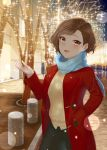 1girl ara_ssmjnkosam_-key2321 black_legwear blue_scarf blush breasts brown_hair character_request copyright_request highres jacket long_sleeves looking_at_viewer medium_breasts outdoors red_jacket scarf short_hair smile solo_focus standing sweater