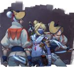 3boys alternate_costume alternate_hairstyle blue_eyes bodysuit character_request commentary_request dagger face_mask facial_hair fighting_stance goatee hair_bun hand_on_hilt headgear link male_focus mask multiple_boys mustache natsuyon ninja over_shoulder pointy_ears reverse_grip sai_(weapon) shoulder_armor sideburns sidelocks silver_hair sword sword_over_shoulder the_legend_of_zelda the_legend_of_zelda:_breath_of_the_wild weapon weapon_over_shoulder