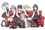 6+girls :d arare_(kantai_collection) arashio_(kantai_collection) asashio_(kantai_collection) bangs belt black_dress black_footwear black_hair black_headwear black_legwear black_ribbon blue_eyes blush bow breasts brown_eyes brown_hair brown_legwear closed_mouth clothes_grab collared_shirt commentary_request disconnected_mouth double_bun dress dress_shirt eyebrows_visible_through_hair frilled_dress frills green_bow green_ribbon grey_hair grey_legwear hair_between_eyes hair_ribbon hands_on_lap hat highres invisible_chair kantai_collection kasumi_(kantai_collection) kirigakure_(kirigakure_tantei_jimusho) kneehighs knees_up light_brown_hair loafers long_hair long_sleeves looking_at_viewer michishio_(kantai_collection) multiple_girls neck_ribbon ooshio_(kantai_collection) open_mouth pantyhose parted_lips pinafore_dress pleated_dress purple_hair red_neckwear red_ribbon remodel_(kantai_collection) ribbon rudder_footwear school_uniform shirt shoes short_hair short_twintails side_ponytail sidelocks silver_hair simple_background sitting sleeveless sleeveless_dress small_breasts smile socks thigh-highs twintails very_long_hair violet_eyes white_background white_legwear white_shirt