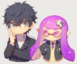 1girl amamiya_ren atlus bangs chibi glasses human inkling kurusu_akira long_hair megami_tensei nintendo nintendo_ead persona persona_5 purple_hair school_uniform short_hair shuujin_academy_uniform simple_background smile sora_(company) splatoon_(series) squid_girl super_smash_bros. super_smash_bros._ultimate wusagi2