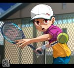1boy ball baseball_cap brown_hair fence hat kaminosaki1 open_mouth original outdoors racket red_eyes shorts sportswear sweatdrop tennis tennis_ball tennis_court tennis_racket tennis_uniform