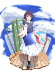 1girl alina_(girls_und_panzer) alternate_costume bag blue_bag blue_sky brick_road brown_eyes brown_hair casual clouds cyrillic girls_und_panzer highres lamppost looking_at_viewer musical_note musical_note_print outstretched_arm oze_(xyz_go_go11) red_bag shopping shopping_bag skirt sky smile solo
