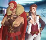 2boys abeberries armor bara beard blue_eyes blush brown_hair cape chest epaulettes facial_hair fate/grand_order fate/zero fate_(series) highres long_sleeves looking_at_viewer male_focus military military_uniform multiple_boys muscle napoleon_bonaparte_(fate/grand_order) pectorals red_eyes redhead rider_(fate/zero) scar smile toned toned_male uniform