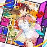 1girl black_choker blue_nails blush bracelet braid brown_eyes brown_hair choker collarbone door dress earrings flower hair_flower hair_ornament hand_up heart highres holding holding_flower jewelry looking_at_viewer open_mouth original red_footwear red_ribbon ribbon see-through standing white_dress yuu_(higashi_no_penguin)