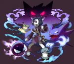 1boy absurdres ahoge black_hair bright_pupils gastly gen_1_pokemon gen_7_pokemon gengar gym_leader hair_over_one_eye haunter highres honyaru_(nanairo39) looking_at_viewer male_focus mask mimikyu onion_(pokemon) outstretched_arm poke_ball poke_ball_(generic) pokemon pokemon_(creature) pokemon_(game) pokemon_swsh ringed_eyes shorts suspender_shorts suspenders uniform violet_eyes wide_sleeves