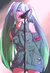 1girl absurdres alternate_color arms_behind_back bangs bare_shoulders breast_pocket breasts buttons commentary cowboy_shot denim denim_dress detached_sleeves dress english_commentary expressionless eyelashes eyes_visible_through_hair flag green_eyes green_hair hair_between_eyes half-closed_eyes hatsune_miku highres huge_filesize jipponwazaari light_particles long_hair looking_away microphone microphone_stand multicolored_hair music number_tattoo open_mouth pin pocket shoulder_tattoo singing small_breasts solo stage_lights tattoo teeth thighs twintails union_jack very_long_hair vocaloid