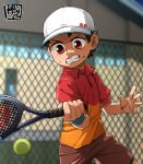 1boy ball baseball_cap brown_hair fence hat highres kaminosaki1 open_mouth original outdoors racket red_eyes shorts sportswear sweatdrop tennis tennis_ball tennis_court tennis_racket tennis_uniform