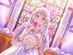 bang_dream! blue_eyes blush dress long_hair veil wakamiya_eve wedding white_hair