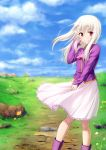 1girl ascot blue_sky boots closed_mouth clouds eyebrows_visible_through_hair fate/stay_night fate_(series) floating_hair flower frilled_skirt frills gyatto624 hair_between_eyes hand_in_hair highres illyasviel_von_einzbern long_hair long_sleeves looking_at_viewer medium_skirt outdoors pink_neckwear pink_skirt pleated_skirt purple_footwear purple_shirt red_eyes shirt silver_hair skirt sky smile solo standing wing_collar yellow_flower
