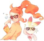 1girl blue_eyes closed_mouth gen_8_pokemon hair_ornament hand_up heart heart_hair_ornament kara_(missileten) long_hair long_sleeves looking_at_viewer orange_hair pokemon pokemon_(creature) pokemon_(game) pokemon_swsh scorbunny side_ponytail simple_background sonia_(pokemon) sparkle sunglasses white_background
