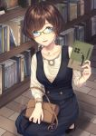 1girl alk bag blue_eyes book bookshelf breasts brown_hair dress full_body glasses handbag jewelry kneeling large_breasts library looking_at_viewer necklace original short_hair solo