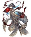 1girl alice_(sinoalice) book breasts chain cloak dark_blue_hair expressionless full_body gold_trim hood hood_up hooded_cloak ji_no looking_at_viewer medium_breasts official_art pages red_eyes revealing_clothes see-through short_hair sinoalice smoke solo tattoo thigh-highs transparent_background