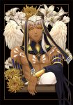 1boy absurdres artist_name black_background dark_skin dark_skinned_male feathered_wings flower frown highres jewelry kamigami_no_asobi kurokiseow looking_at_viewer male_focus shirtless simple_background solo tattoo thoth_caduceus tiara upper_body white_hair wings yellow_eyes