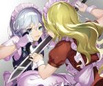 2girls :p apron bangs blonde_hair blue_dress blue_eyes bow braid commentary_request dress eyebrows_visible_through_hair face-to-face from_behind gradient gradient_background green_bow green_neckwear grey_background hair_between_eyes hair_bow holding holding_knife holding_sword holding_weapon izayoi_sakuya knife long_hair looking_at_another maid maid_apron maid_headdress multiple_girls nail_polish piyodesu puffy_short_sleeves puffy_sleeves red_dress red_nails reverse_grip shirt short_hair short_sleeves silver_hair smile sword tongue tongue_out touhou touhou_(pc-98) twin_braids upper_body very_long_hair waist_apron weapon white_apron white_background white_shirt wrist_cuffs yumeko