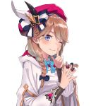 1girl beret blue_bow blue_eyes blue_neckwear blush bow bowtie braid brown_hair closed_mouth feathers finger_to_mouth hair_bow hands_up hat highres holding hood hood_down index_finger_raised jjeono long_hair looking_at_viewer noa_(seven_knights) one_eye_closed pink_headwear robe seven_knights shushing simple_background smile solo upper_body white_background wing_collar