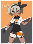 1girl :< blue_eyes blush bow character_name clenched_hands commentary_request covered_navel cowboy_shot dark_skin gloves grey_background grey_hair hair_bow haniwagi_(hal) knee_pads leotard_under_clothes looking_at_viewer orange_background partly_fingerless_gloves pokemon pokemon_(game) pokemon_swsh saitou_(pokemon) shirt single_glove solo sportswear tied_shirt two-tone_background wristband