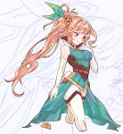 1girl aqua_dress bow breasts brooch brown_hair collared_dress dragalia_lost dress elbow_gloves elisanne gloves green_bow hair_bow hair_ornament hand_up jewelry kara_(missileten) long_hair medium_breasts ponytail simple_background smile solo standing thigh-highs very_long_hair violet_eyes white_gloves zoom_layer