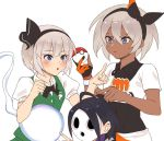1boy 2girls abs ahoge black_bodysuit blue_eyes bodysuit bow bowtie closed_mouth creatures_(company) crossover dark_skin fingerless_gloves game_freak gloves green_vest hairband kamu_(kamuuei) konpaku_youmu konpaku_youmu_(ghost) mask multiple_girls nintendo olm_digital onion_(pokemon) open_mouth pointing poke_ball pokemon pokemon_(anime) pokemon_(game) pokemon_swsh poking purple_hair saitou_(pokemon) short_hair short_sleeves simple_background super_smash_bros. team_shanghai_alice touhou vest white_background white_hair
