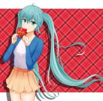 1girl ahoge blue_eyes blue_hair blue_jacket box casual closed_mouth collarbone cowboy_shot eyebrows_visible_through_hair floating_hair gift gift_box hair_between_eyes hatsune_miku holding_bow jacket long_hair long_sleeves looking_at_viewer miniskirt open_clothes open_jacket shiny shiny_hair shirt skirt smile solo standing very_long_hair vocaloid white_shirt yellow_skirt yousui