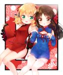 2girls :d alternate_costume bangs bare_legs bare_shoulders blonde_hair blue_dress blue_ribbon blush bow braided_bun breasts brown_eyes brown_hair china_dress chinese_clothes cleavage_cutout detached_collar detached_sleeves dot_nose double_bun dress eyebrows_visible_through_hair floral_background frilled_sleeves frills green_eyes hair_bow hair_ribbon hand_on_own_chest highres holding_hands idolmaster idolmaster_cinderella_girls impossible_clothes impossible_dress knees_together_feet_apart kofa_(ikyurima) looking_at_another looking_at_viewer medium_hair multiple_girls navel open_mouth out_of_frame red_background red_bow red_dress red_ribbon ribbon sakurai_momoka shiny shiny_skin short_hair sideboob sidelocks skindentation small_breasts smile tachibana_arisu thigh-highs tight_dress wavy_hair white_legwear wide_sleeves