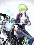1boy artist_request black_gloves black_jacket blonde_hair closed_eyes cravat earrings gloves green_hair ground_vehicle half_gloves jacket jewelry lio_fotia male_focus motor_vehicle motorcycle open_mouth promare solo