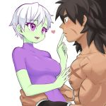 1boy 1girl arms_around_waist black_hair broly_(dragon_ball_super) brown_eyes cheelai chest_scar commentary_request covered_navel dragon_ball dragon_ball_super_broly eyebrows_visible_through_hair eyelashes facial_scar finger_to_another's_mouth green_skin gureshi_db hand_on_another's_chest looking_at_another muscle open_mouth parted_lips scar short_hair smile upper_body violet_eyes white_background white_hair wristband