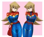 amber_eyes armor arms_behind_back belt blonde_hair blue_armor blue_outfit captain_marvel cosplay cute deviantart happy lipstick long_hair pink_background red_ribbon sincity2100 smile star tenjouin_asuka yellow_eyes yu-gi-oh! yuu-gi-ou yuu-gi-ou_arc-v yuu-gi-ou_gx