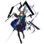 1girl amiya_(arknights) animal_ears ankle_strap arknights arm_at_side ascot bangs black_jacket black_legwear blue_eyes blue_skirt blush breasts brown_hair choker closed_mouth clothes_writing elite_i_(arknights) expressionless floating_hair full_body hair_between_eyes hand_up hood hood_down hooded_jacket jacket jewelry long_hair looking_at_viewer miniskirt multiple_rings neck_ring official_art open_clothes open_jacket open_mouth pantyhose plaid plaid_skirt pleated_skirt ring shoes sidelocks skirt solo standing sweater tachi-e tareme thumb_ring transparent_background very_long_hair white_sweater wind wind_lift yui_(niikyouzou)
