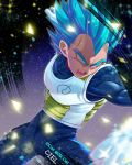 1boy armor artist_name blue_background blue_eyes blue_hair blurry blurry_foreground clenched_hands clothes_writing commentary_request d: dark_background dragon_ball dragon_ball_super dragon_ball_z fighting_stance frown gloves glowing glowing_eyes gradient gradient_background korean_commentary looking_away male_focus muscle open_mouth purple_background see-through serious shaded_face sparkle sparkle_background spiky_hair super_saiyan_blue tarutobi teeth twitter_username v-shaped_eyebrows vegeta white_background white_gloves