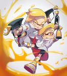 2boys black_shorts blurry blurry_foreground boots commentary dapple_dualies_(splatoon) depth_of_field domino_mask dual_wielding emperor_(splatoon) half-closed_eyes holding inkling jumping long_sleeves looking_at_viewer male_focus mask multiple_boys open_mouth orange_eyes orange_hair pointy_ears prince_(splatoon) shorts smirk splatoon_(manga) splatoon_(series) tentacle_hair ukata uniform v-shaped_eyebrows white_coat white_footwear