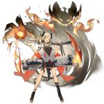 1girl :d arknights bangs black_footwear blonde_hair boots breasts canister choker cloak dress eyebrows_visible_through_hair fire flamethrower flat_chest full_body gas_tank gradient_hair grey_dress grey_hair gun hand_up holding holding_gun holding_weapon horns ifrit_(arknights) leg_strap looking_at_viewer low_twintails multicolored_hair official_art open_mouth open_toe_shoes orange_eyes orange_nails parted_bangs sho_(sho_lwlw) short_dress sidelocks slit_pupils smile solo striped striped_dress tachi-e tail thigh_strap toeless_boots toenail_polish tongue tongue_out transparent_background twintails weapon white_cloak