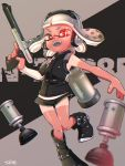 1girl artist_name bangs black_footwear black_shirt black_shorts blunt_bangs blurry_foreground boots burst_bomb_(splatoon) commentary detached_sleeves domino_mask english_commentary english_text full_body grey_hair gym_shorts headphones highres holding holding_weapon inaba_shounosuke ink_tank_(splatoon) inkling logo looking_at_viewer mask n-zap_(splatoon) nintendo open_mouth red_eyes shirt short_hair short_shorts shorts signature sleeveless sleeveless_shirt smile solo sparkle sparkling_eyes splatoon_(series) splatoon_2 standing standing_on_one_leg tan tanline tentacle_hair weapon