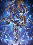 aura glowing glowing_eyes gold_armor gundam gundam_narrative highres mecha no_humans nt-d raruru shield unicorn_gundam_phenex