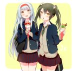 1girl alternate_costume anbutter_siruko bag black_jacket blazer border cardigan commentary_request cowboy_shot crepe food green_neckwear grey_hair hair_ribbon hairband jacket kantai_collection long_hair looking_at_viewer necktie open_mouth plaid plaid_skirt pleated_skirt red_eyes red_hairband ribbon school_bag school_uniform shoukaku_(kantai_collection) silver_hair skirt solo striped striped_neckwear twintails two-tone_background white_border yellow_background yellow_eyes zuikaku_(kantai_collection)