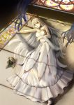 1girl anastasia_(fate/grand_order) bad_proportions bare_shoulders blue_eyes dress fate/grand_order fate_(series) highres long_hair looking_at_viewer on_floor shadow silver_hair solo very_long_hair white_dress white_footwear zhi_wozi