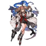 1girl angelina_(arknights) animal_ear_fluff animal_ears arknights aura bag bangs black_footwear black_gloves black_legwear black_shorts blush brown_hair choker coat elite_ii_(arknights) eyebrows_visible_through_hair floating_hair full_body gloves hairband holding holding_staff jacket lace-up_shoes lm7_(op-center) long_hair long_sleeves looking_at_viewer off_shoulder official_art open_clothes open_coat red_eyes red_jacket shirt shoes shorts sidelocks sneakers socks solo staff tachi-e transparent_background twintails unzipped wavy_hair weapon white_coat wind wind_lift wolf wolf_ears