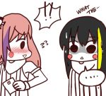 !! ... black_hair blush cartoon commentary girls_frontline looking_at_another m4a1_(girls_frontline) multicolored_hair o.k.corral pink_hair simple_background speech_bubble st_ar-15_(girls_frontline) surprised tagme what