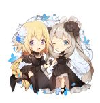 :d ;) alternate_costume ankle_ribbon bare_legs bare_shoulders black_bow black_dress black_footwear black_gloves black_legwear black_ribbon blonde_hair blue_eyes bow braid chibi dress fate/apocrypha fate/grand_order fate_(series) flower formal gloves hair_flower hair_ornament hair_ribbon hand_on_another's_arm highres jeanne_d'arc_(fate) jeanne_d'arc_(fate)_(all) jewelry long_hair looking_at_viewer marie_antoinette_(fate/grand_order) neck_ribbon necklace no-kan off_shoulder one_eye_closed open_mouth outstretched_hand reaching ribbon side_slit silver_hair simple_background sleeveless sleeveless_dress smile thigh-highs twintails violet_eyes white_background zettai_ryouiki