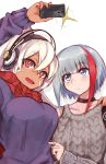 2girls admiral_graf_spee_(azur_lane) aran_sweater azur_lane bangs blue_eyes bodypaint breasts cellphone choker dark_skin facial_mark hair_between_eyes headphones highres long_hair marshall2033 minneapolis_(azur_lane) multicolored_hair multiple_girls nail_polish native_american phone ponytail red_eyes red_nails redhead scarf self_shot short_hair sidelocks silver_hair streaked_hair sweater white_hair